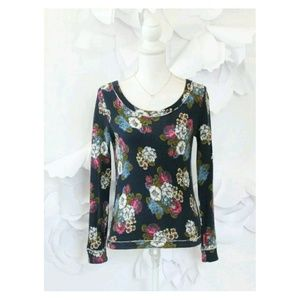 Anthropologie Floral Bow Back Top S Blue